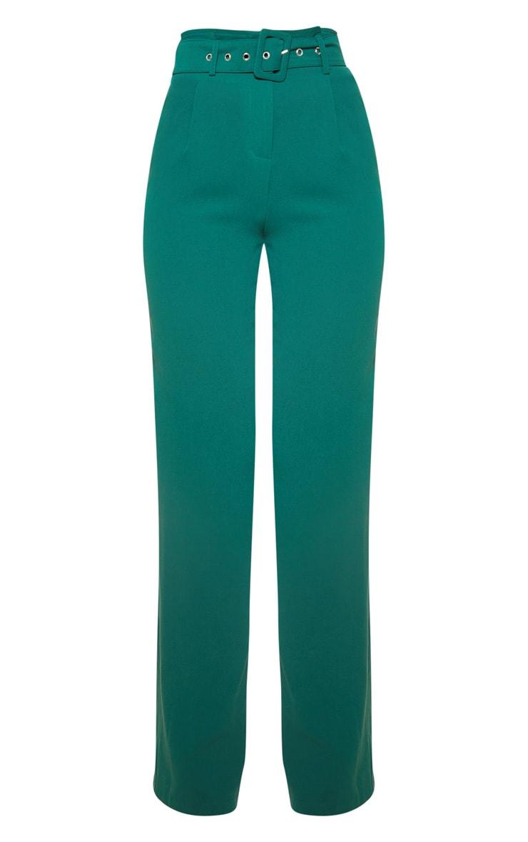 Jasper Green Lightweight Woven Belted Wide Leg Trouser 3