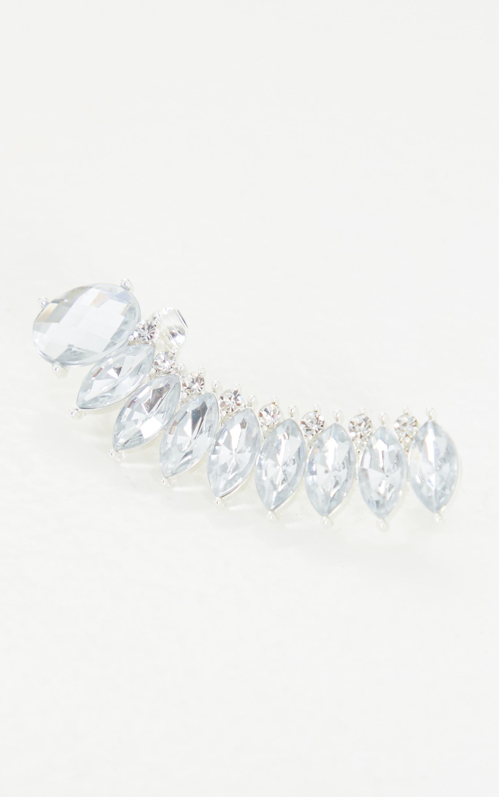 Silver Oversized Diamante Ear Cuff 2