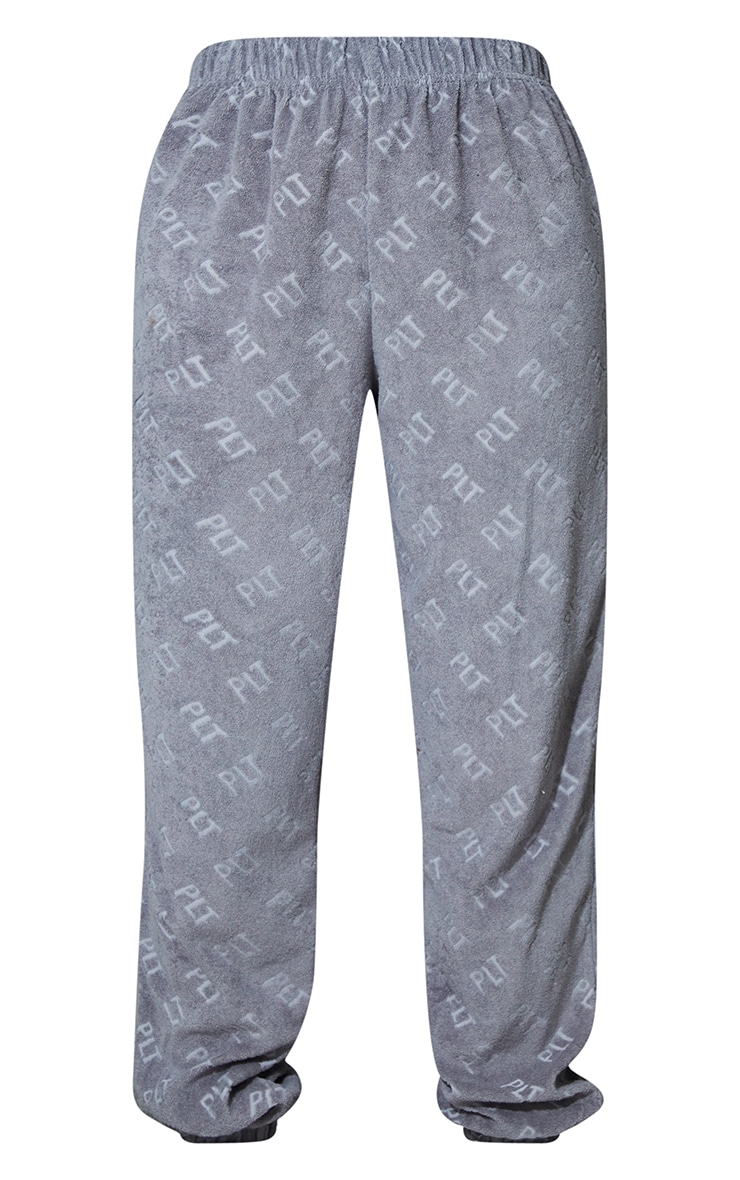PRETTYLITTLETHING Grey Embossed Towelling Joggers 5