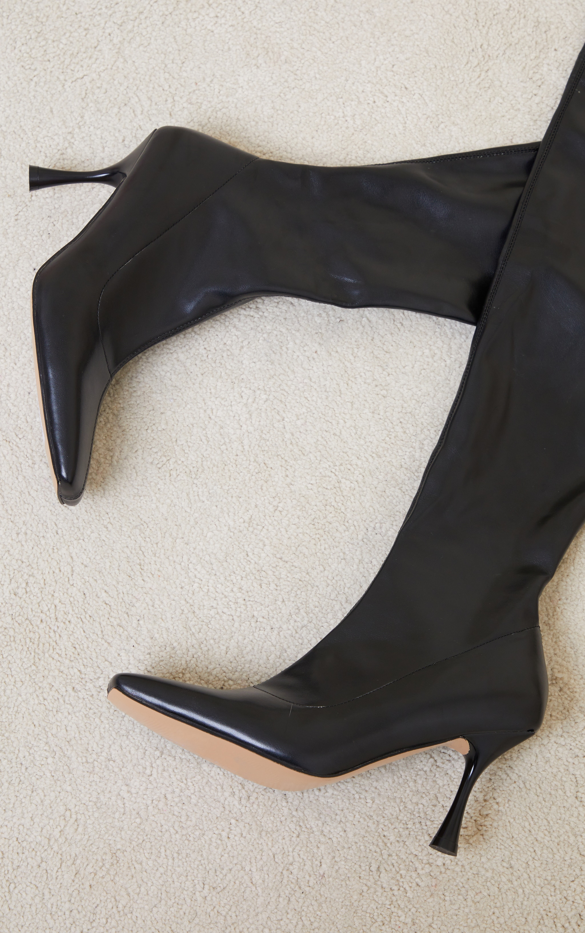 Black PU Square Toe Over The Knee Boots 4