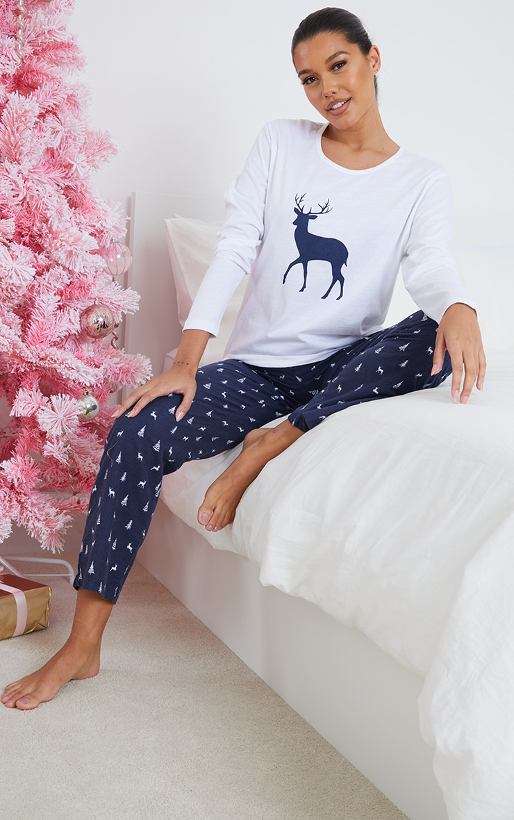 Blue Reindeer Printed Long Sleeve PJ Set 1