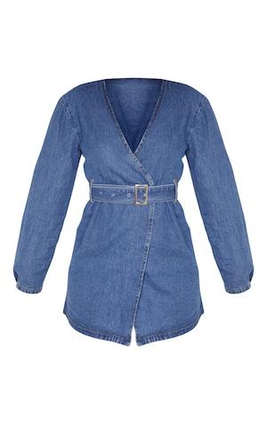 sélectionner pour l'original nouveaux produits chauds construction rationnelle Robe portefeuille en jean très délavé ceinturée