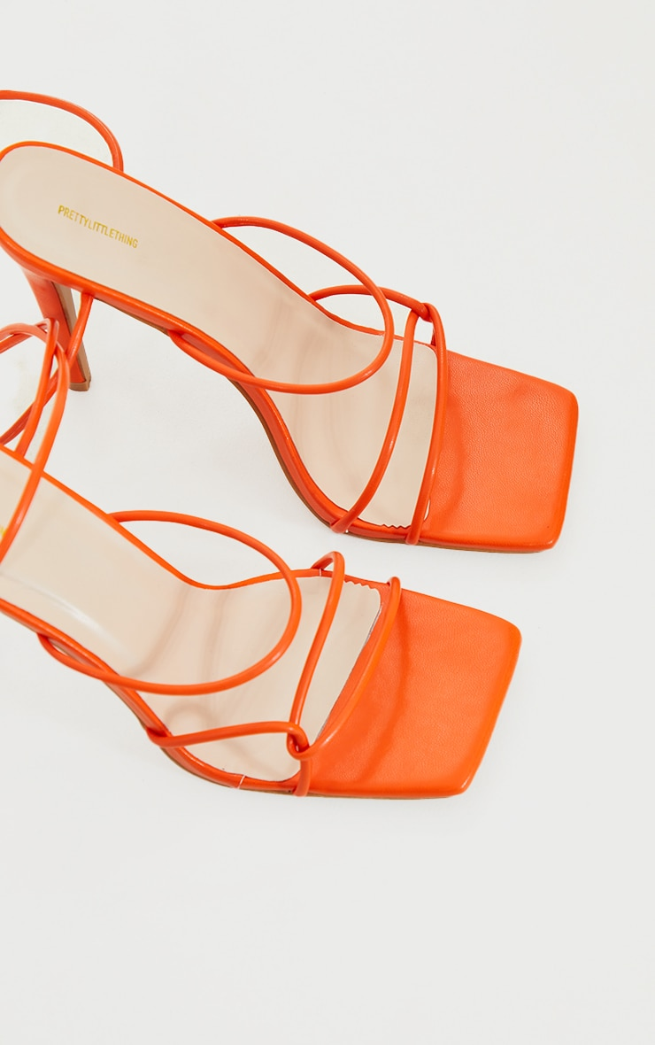 Orange Wide Fit Tube Strappy Laces Up High Heels 4