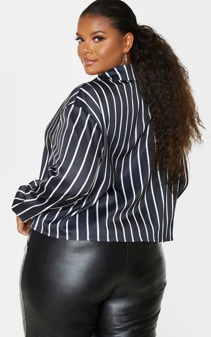 Plus Black Satin Stripe Crop Shirt 2