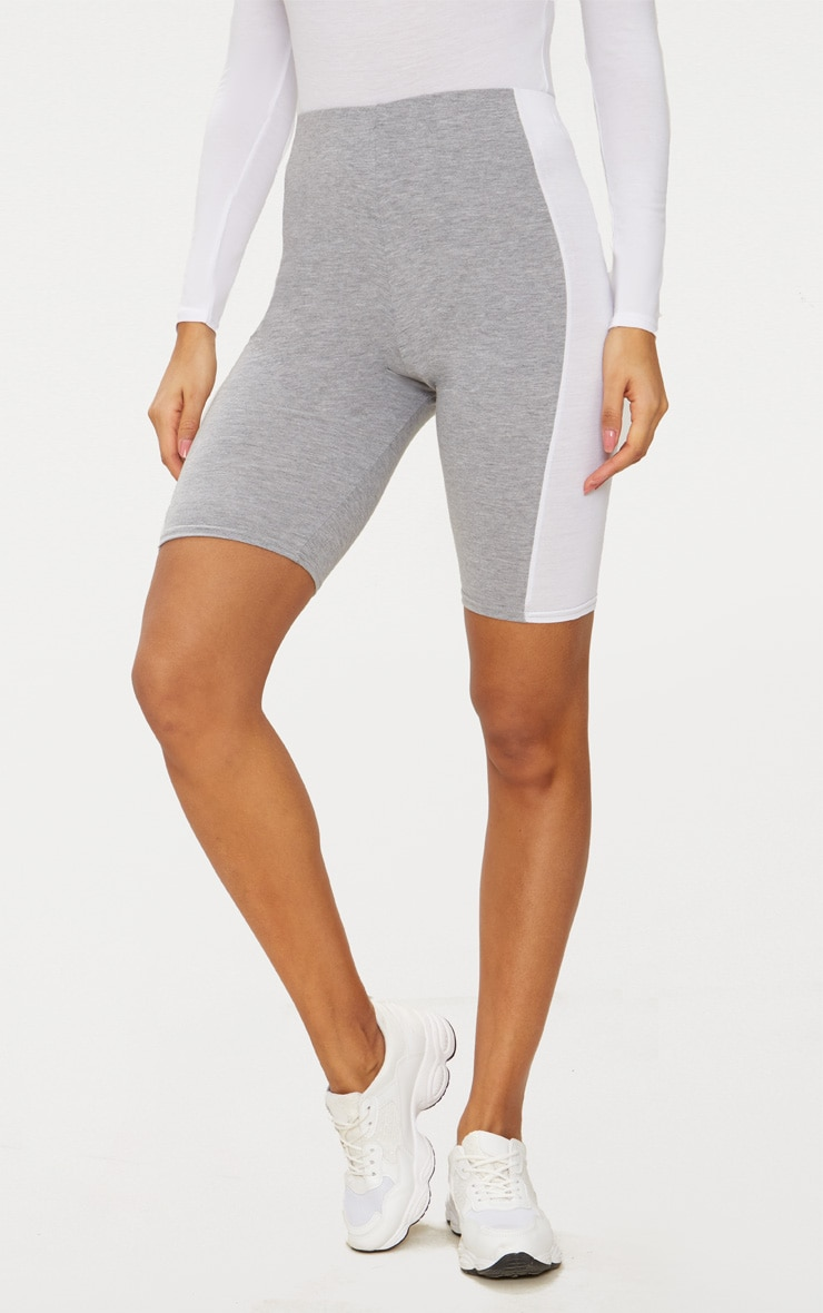 Grey Contrast Panel Cycle Shorts 2