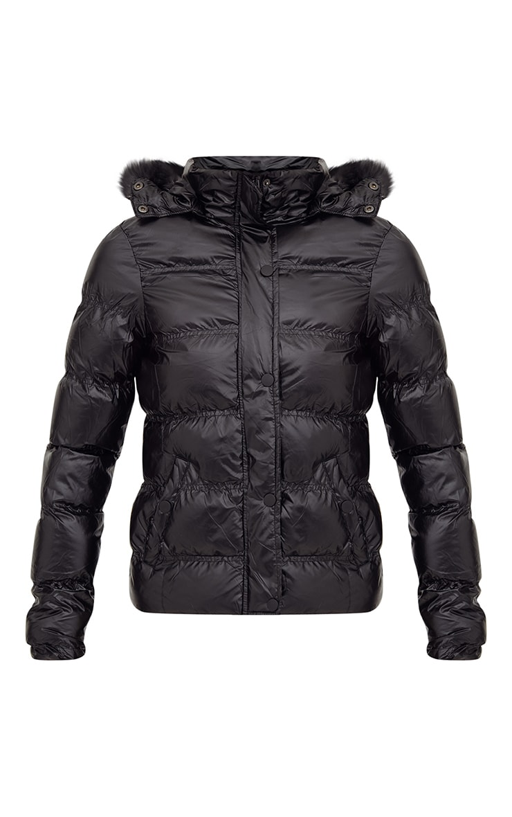 Black High Shine Puffer Jacket With Faux Fur Hood