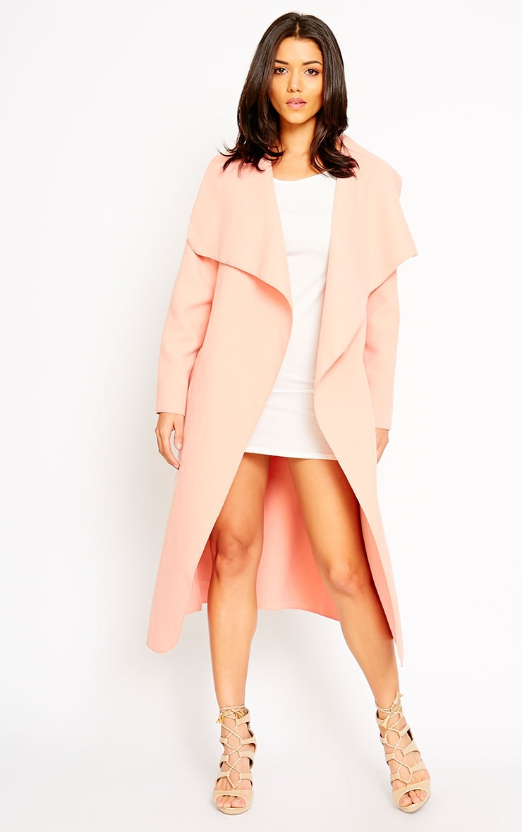 Veronica Peach Waterfall Coat 6