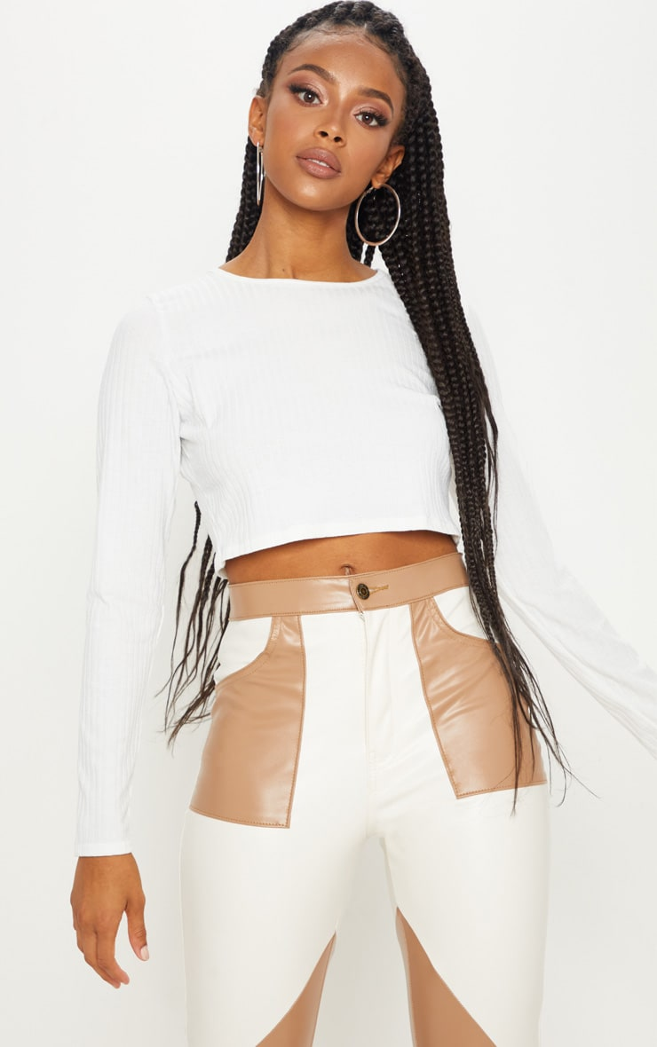 Cream Long Sleeve Ribbed Crop Top by Prettylittlething