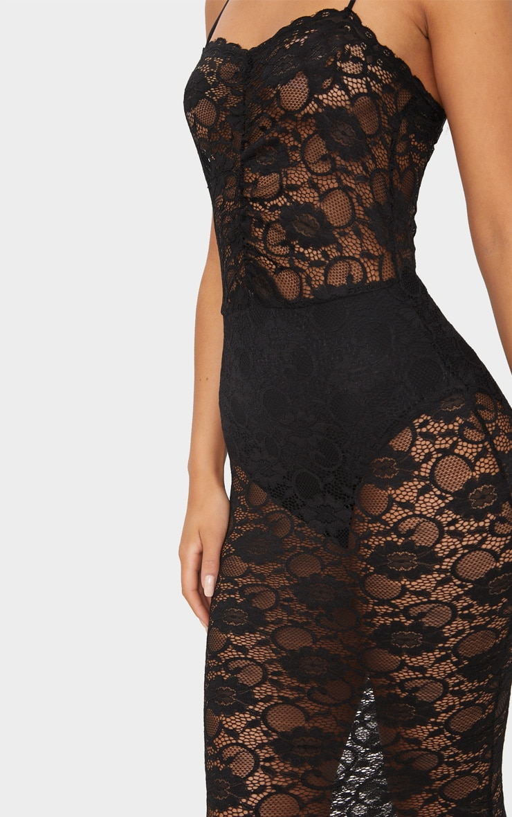 Black Lace Ruched Midi Dress 5