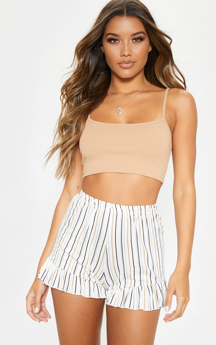 White Stripe Frill Hem Shorts 5