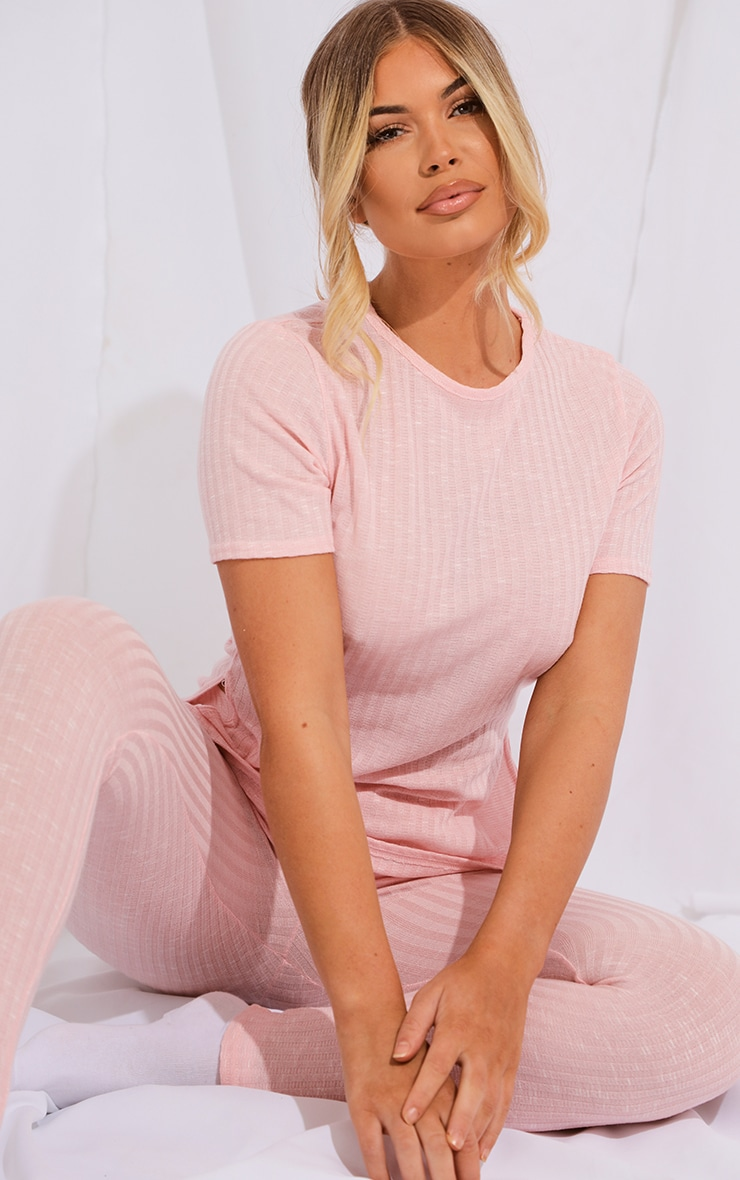 Baby Pink Knitted Side Split Tee And Legging Set 4