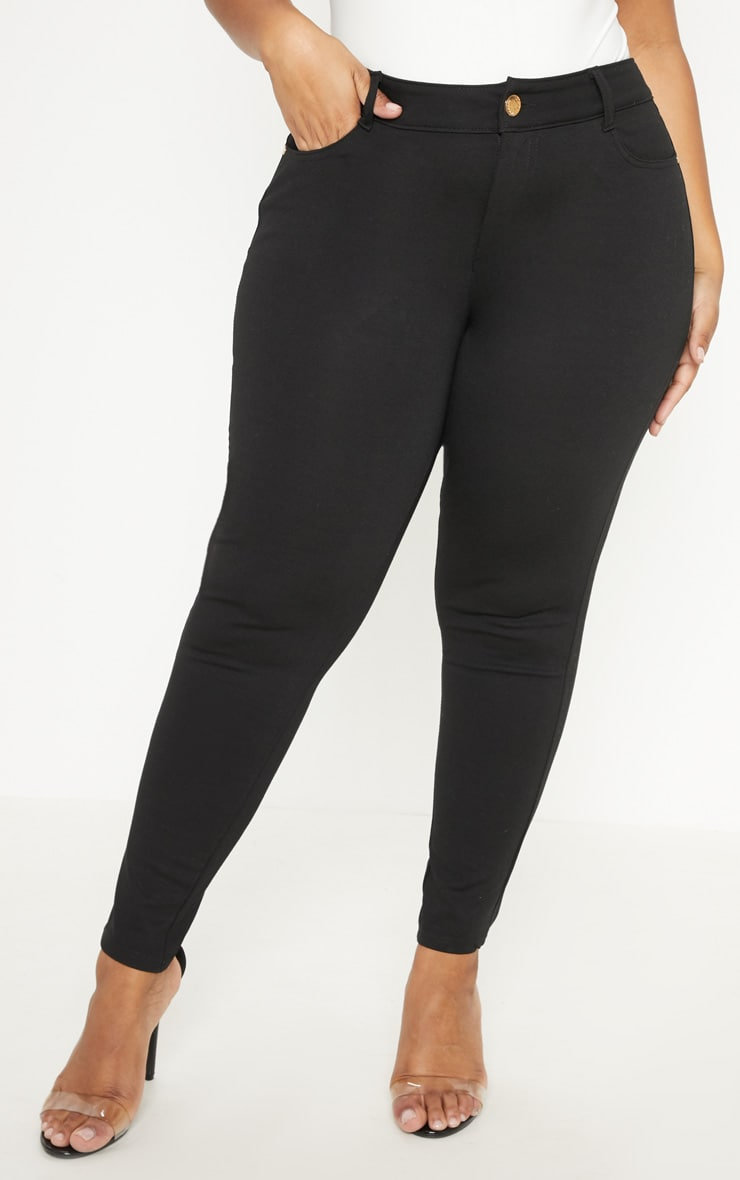 Plus Black Mid Rise Skinny Jegging  4