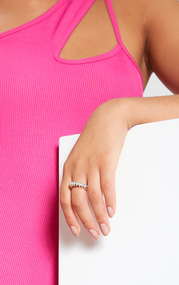 Gold Tear Drop Diamante Ring 2