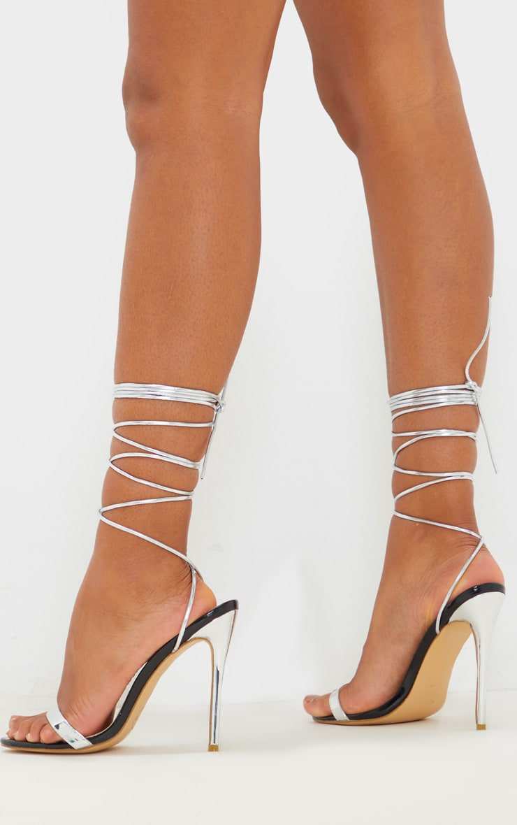 Silver Metallic Thin Strappy Lace Up Sandal 2
