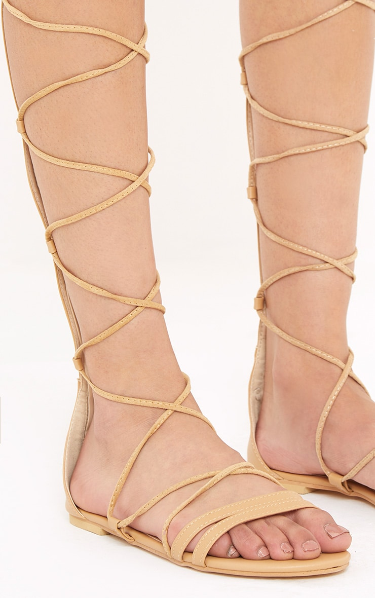 Lorna Nude Over The Knee Lace Up Sandals 5