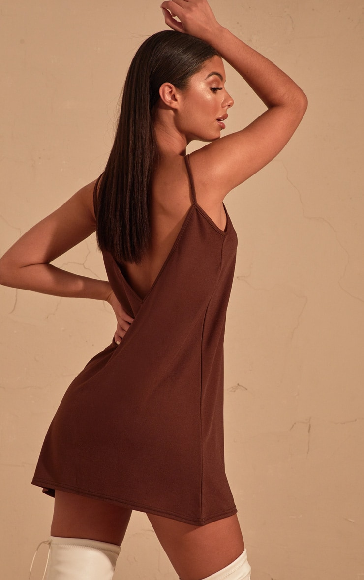Chocolate Strappy Detail Swing Dress  1