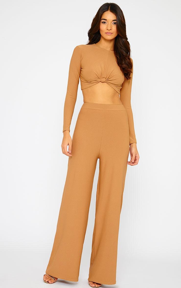 Zafia Camel Palazzo Trousers 1