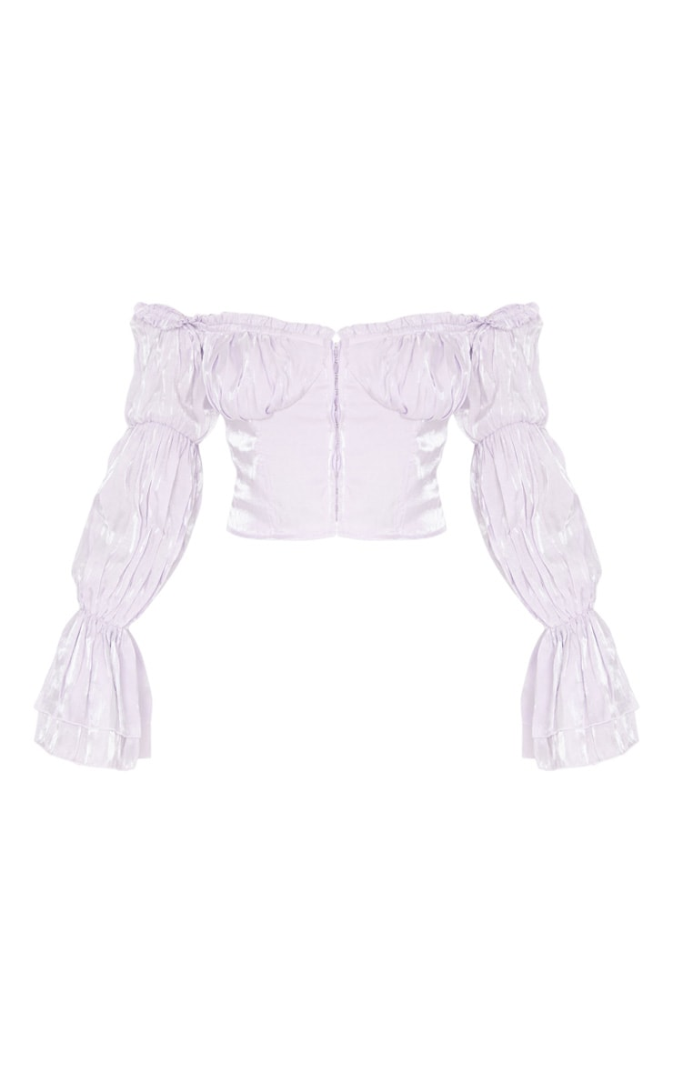 Lilac Sheer Cup Detail Bardot Long Sleeve Corset Top 5