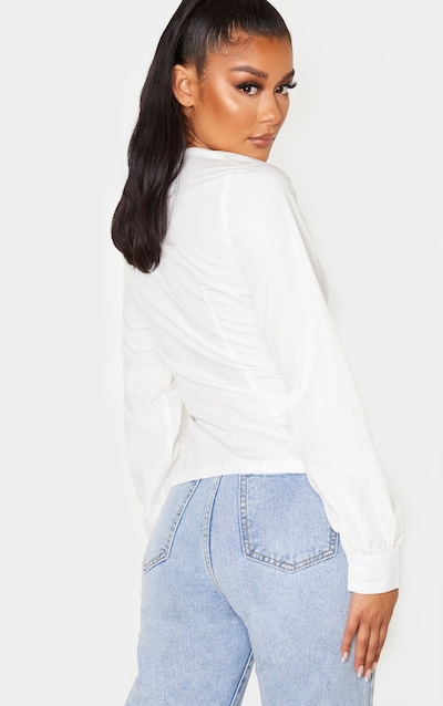 White Ruched Keyhole Fitted Shirt