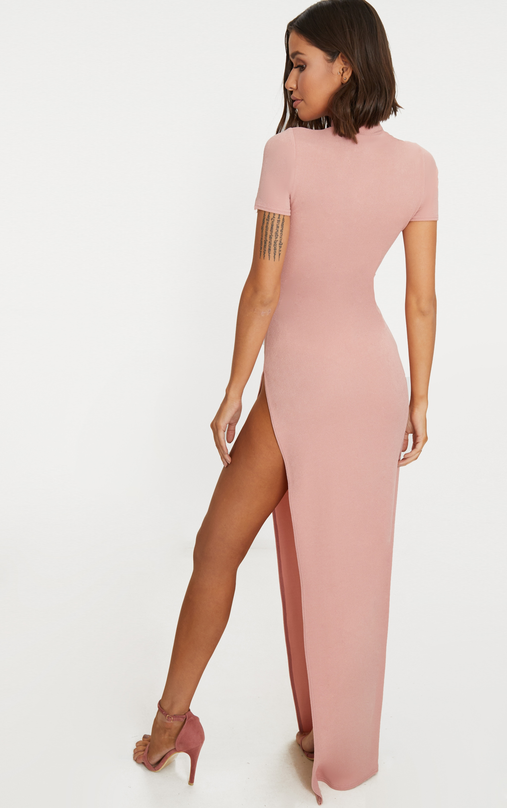 Dusty Pink Oriental Cut Out Detail Maxi Dress 2
