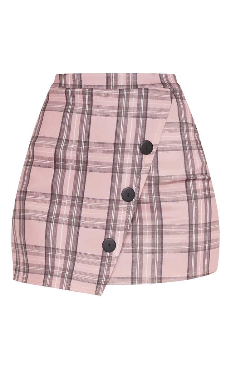 Pink Check Button Skirt  3