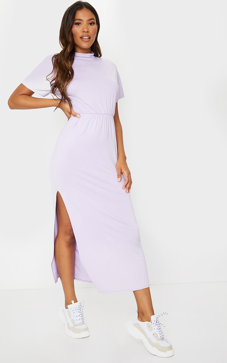 Lilac High Neck Elasticated Split Detail Midi Dress 1
