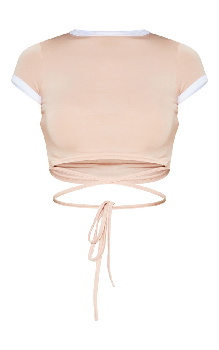 Phillipa Nude Jersey Harness Contrast Crop T Shirt 3