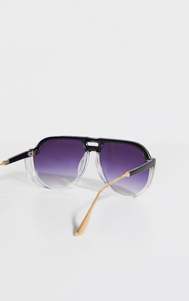 Black Ombre Double Bar Round Frame Sunglasses 4