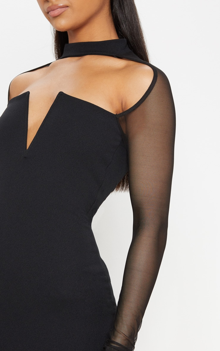 Black Choker Neck Mesh Sleeve V Plunge Bodycon Dress 5