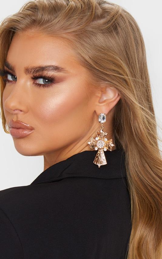 Gold Crystal Drop Cross Earrings 1