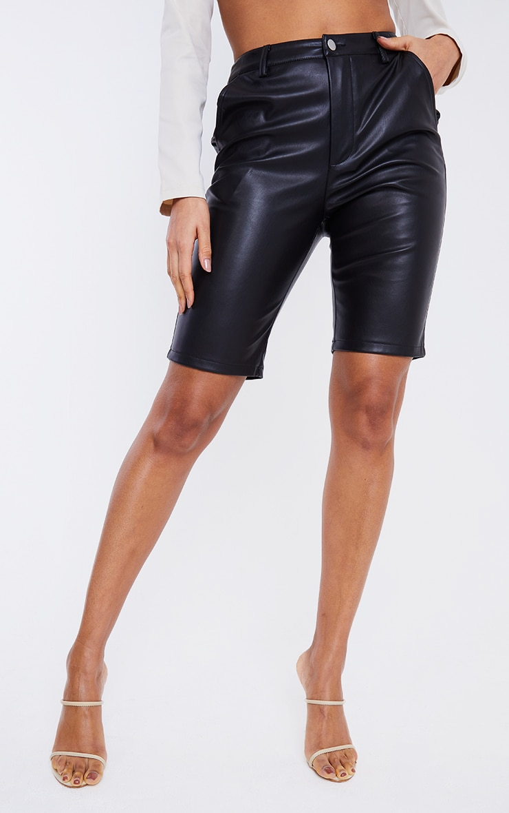 Black Faux Leather Button Up Bike Shorts 2