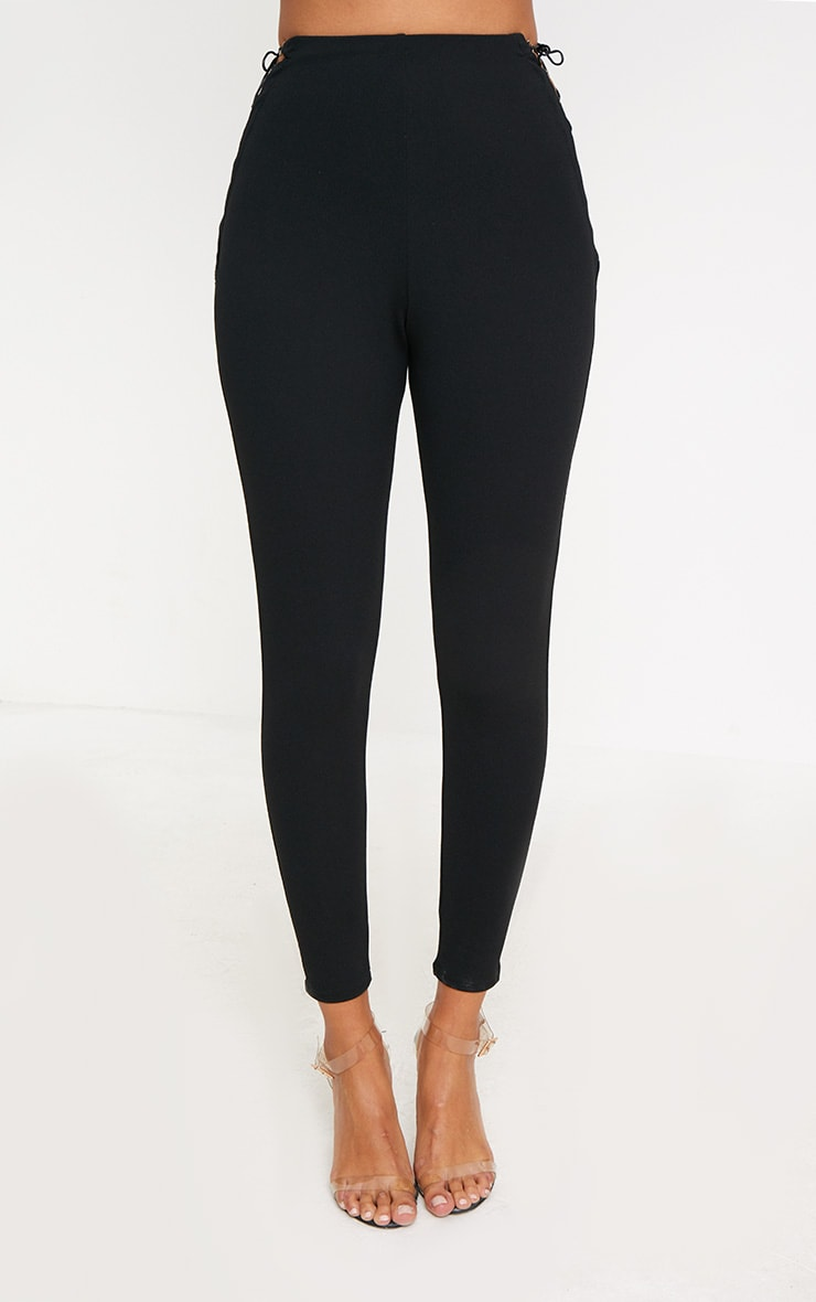 Black Lace Up Insert Skinny Trousers 2