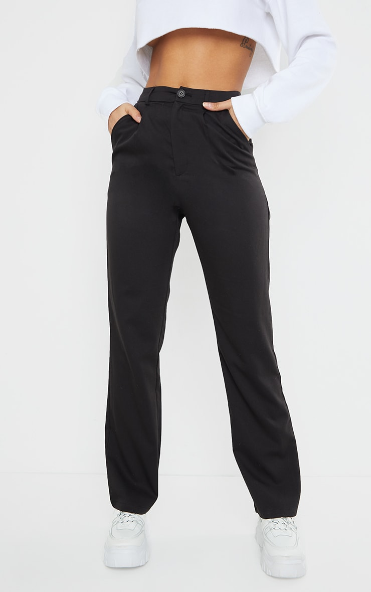 Black Woven Seam Front Dad Pants 2