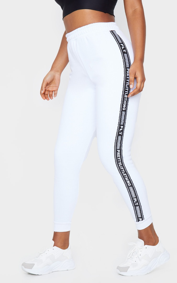 PRETTYLITTLETHING White Tape Cuff Joggers 2