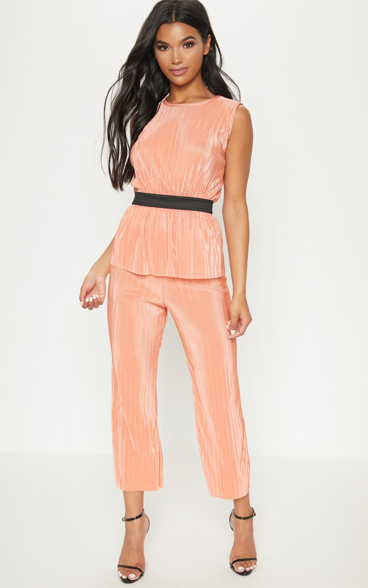 Orange Plisse Pleated Culottes 1