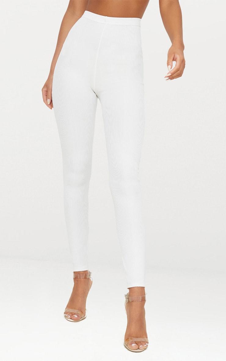 Legging taille haute blanc crème 2