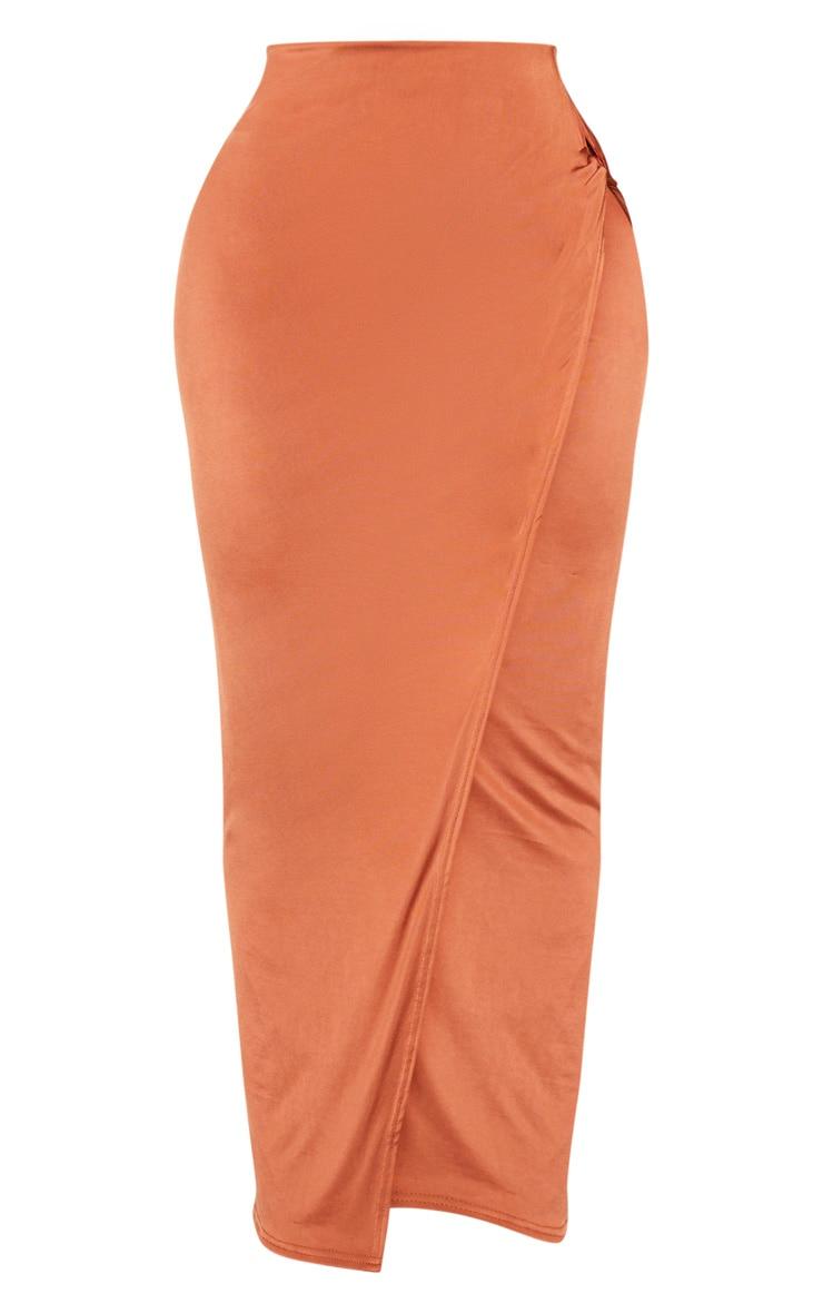 Shape - Jupe mi-longue slinky terracotta nouée sur le côté 5