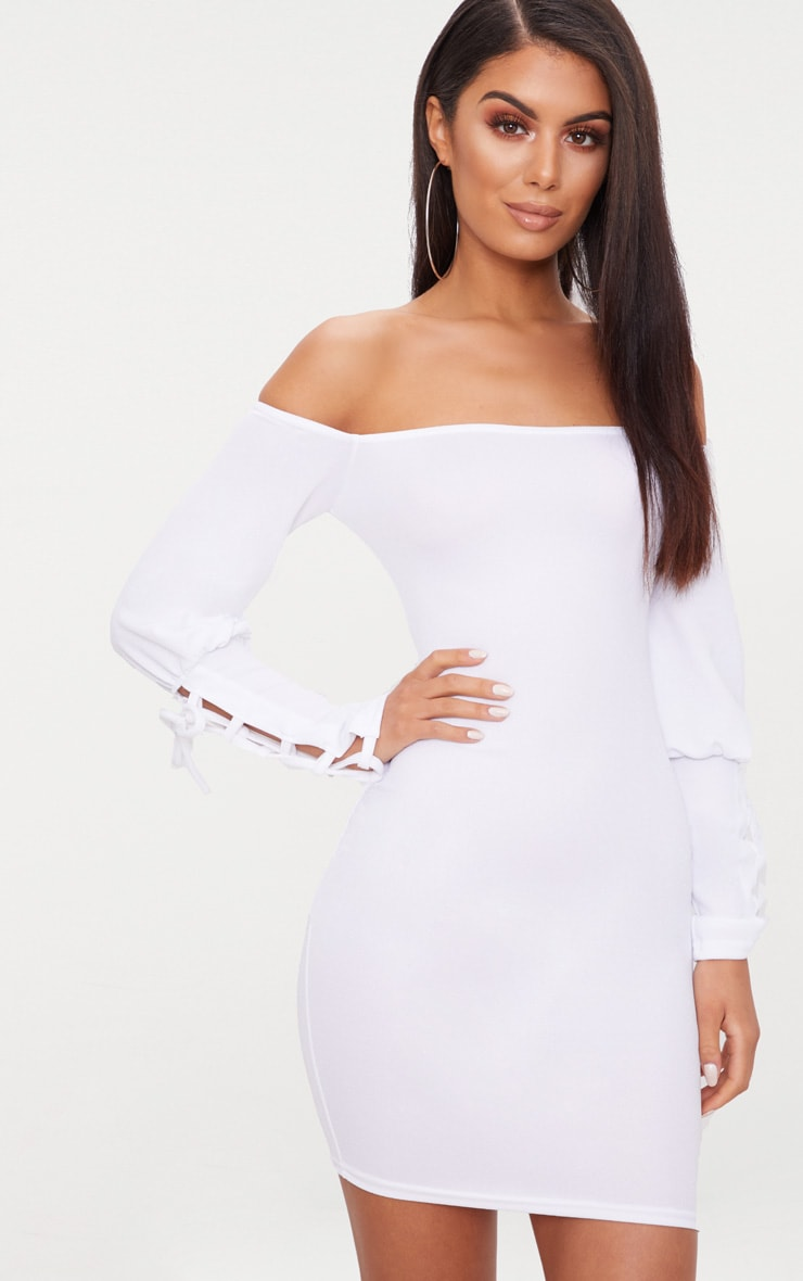 White Lace Up Sleeve Bardot Bodycon Dress 1