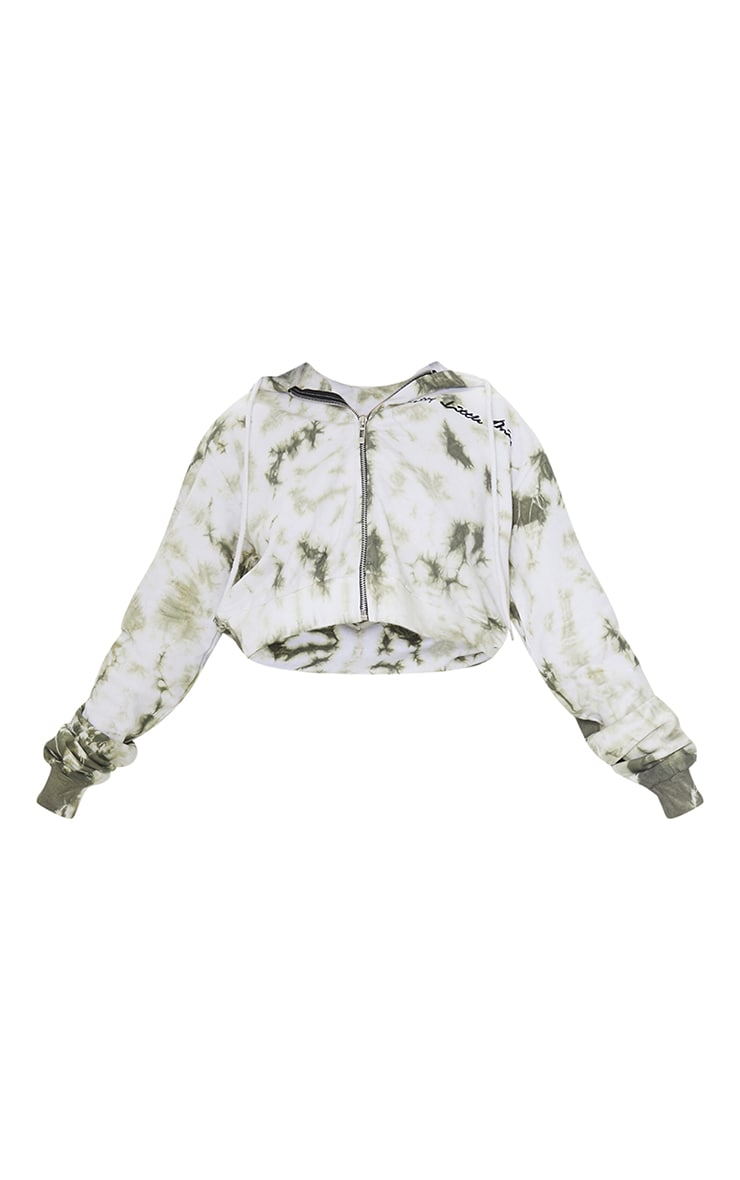 PRETTYLITTLETHING Petite Khaki Tie Dye Cropped Embroidered Zip Hoodie 5