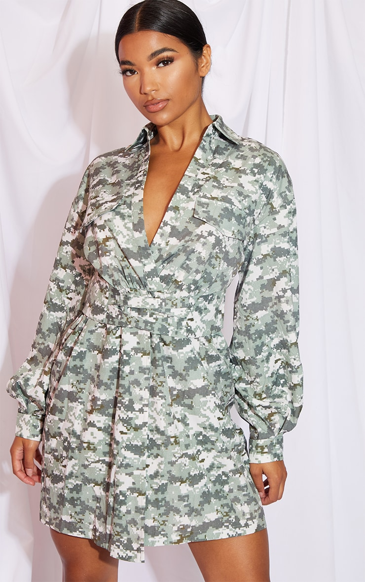 Khaki Pixilated Camo Plunge Waist Detail Long Sleeve Shift Shirt Dress 1