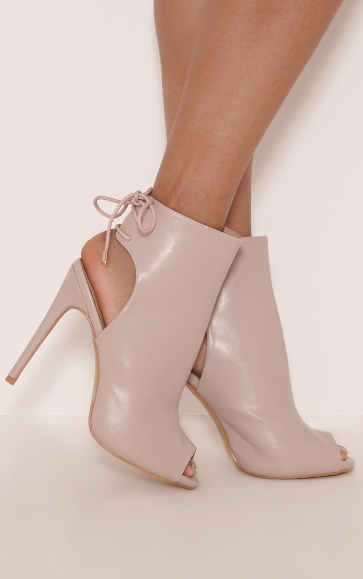 Joni Taupe Faux Leather Cut Out Peep Toe Ankle Boots 2