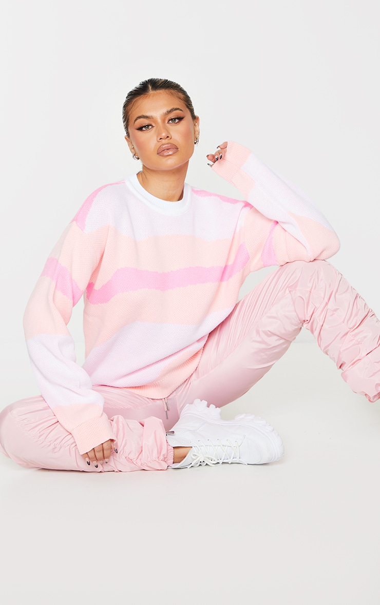 Pink Colour Block Swirl Knitted Sweater 3
