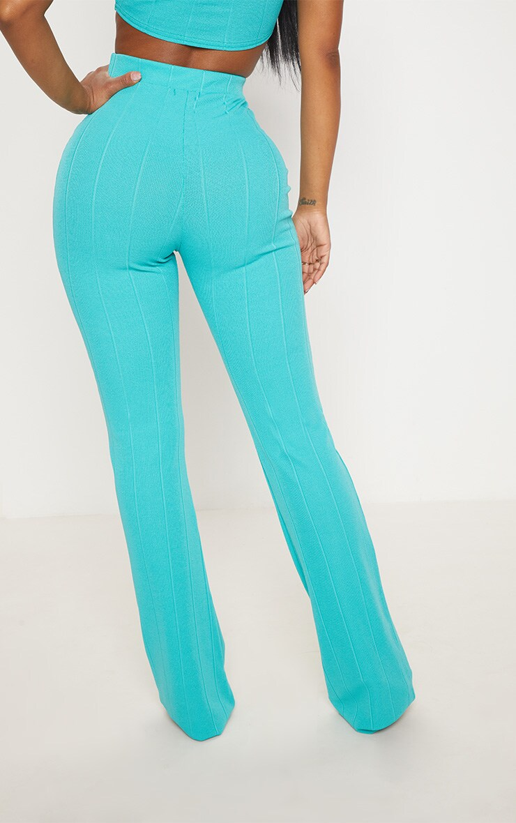 Shape Turquoise Bandage Wide Leg Trousers 4