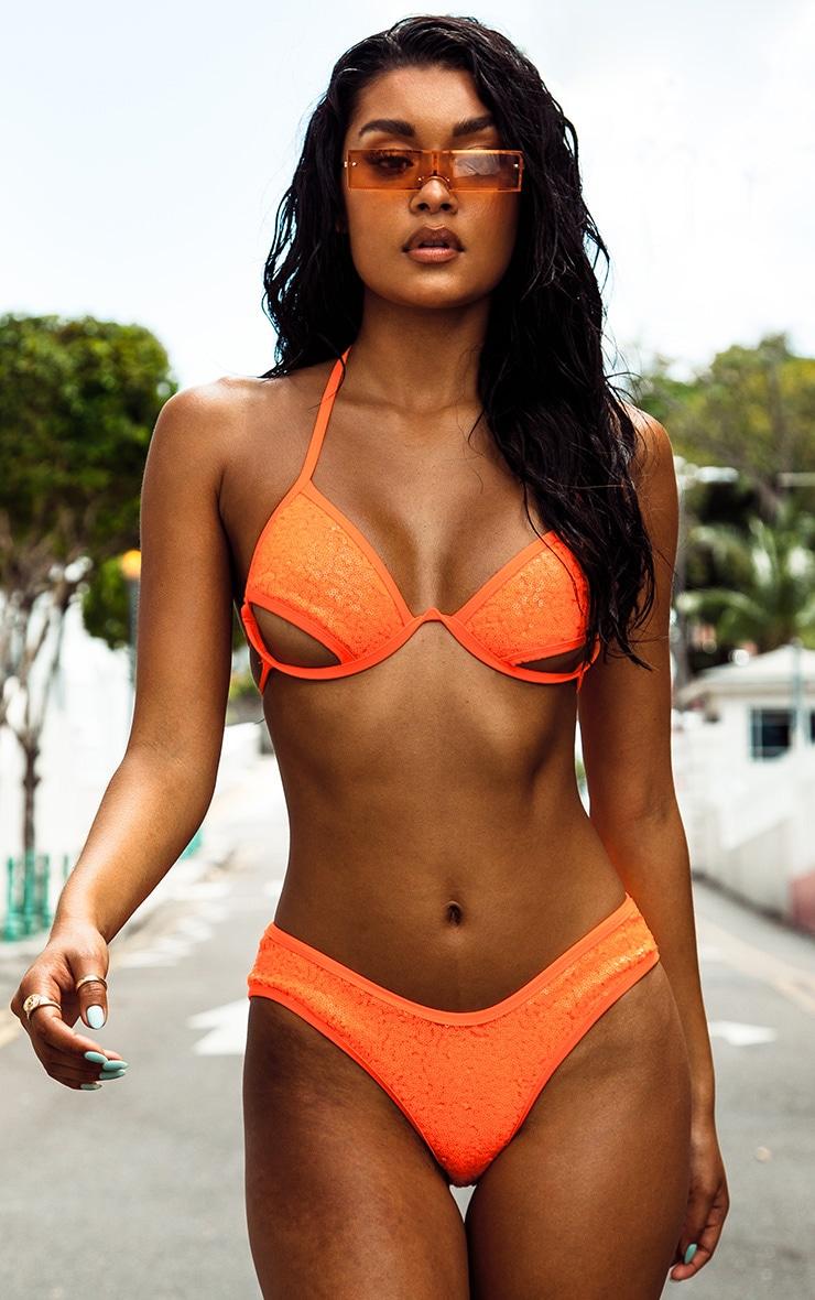 1f789fc420 Orange Sequin Under Bust Wired Bikini Top | PrettyLittleThing