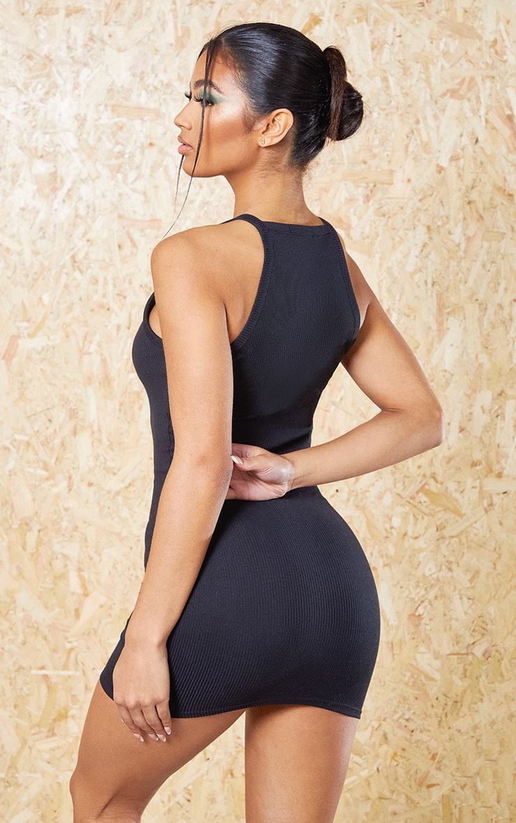 Black Recycled Rib Racer Neck Bodycon Dress 2