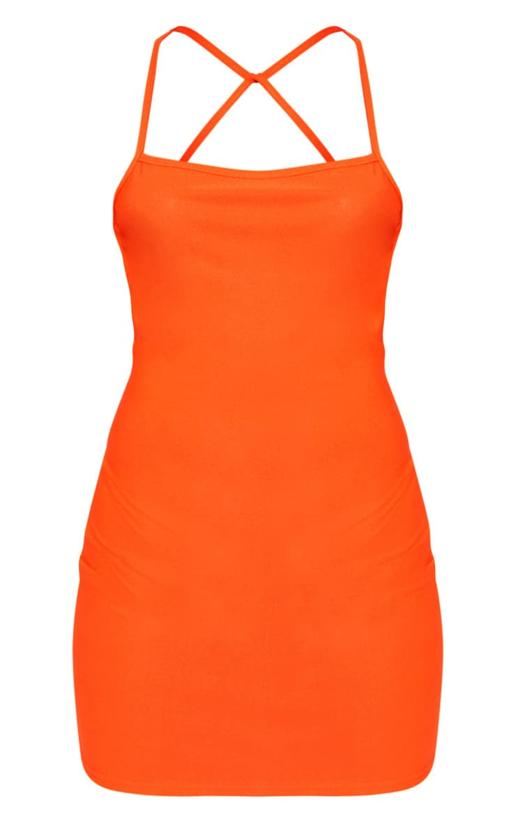 Orange Strappy Cross Back Bodycon Dress 3