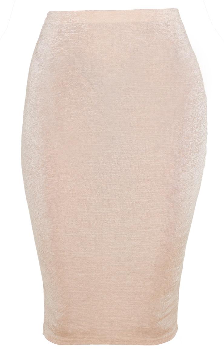 Champagne Textured Slinky Midi Skirt 3