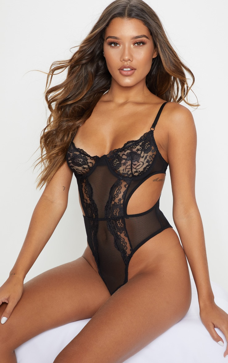 Black Lace Cup Cut Out High Leg Body 1