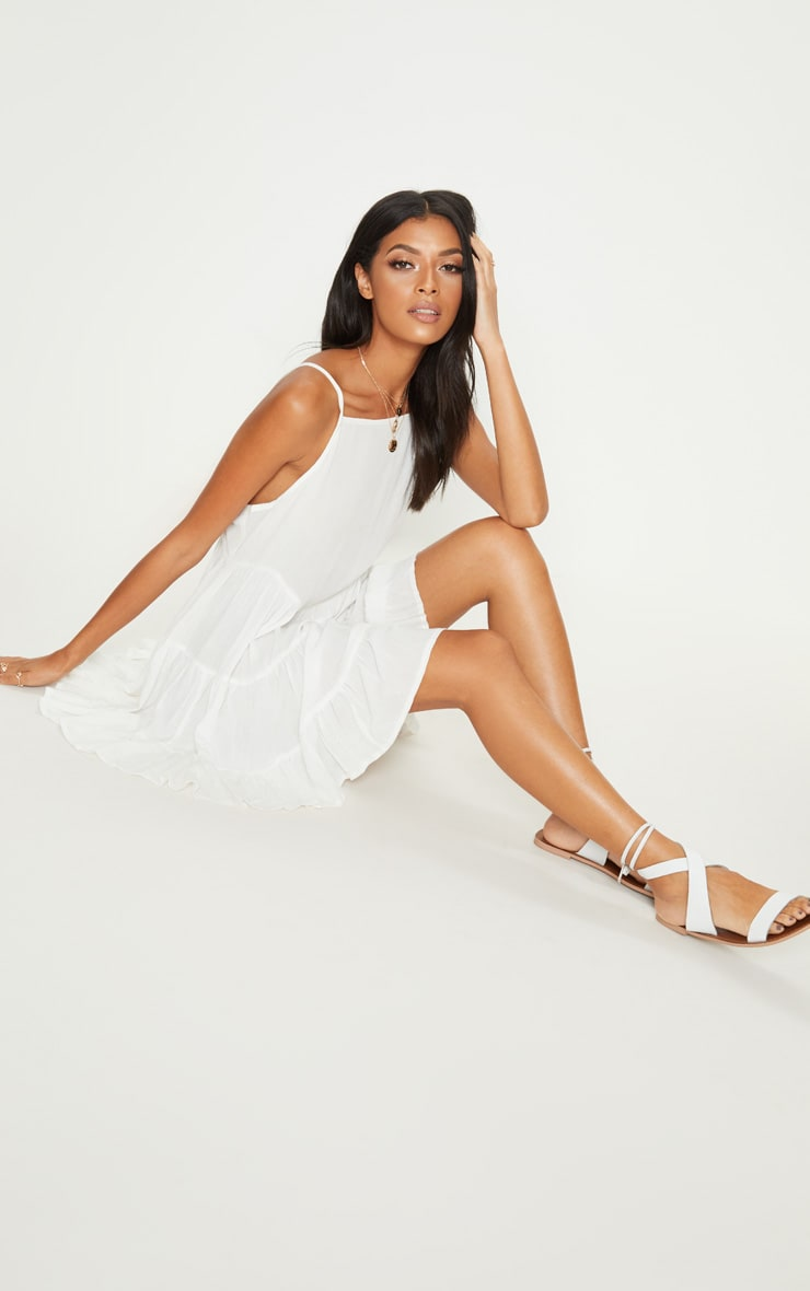 White Cheesecloth Strappy Tiered Cami Dress 4