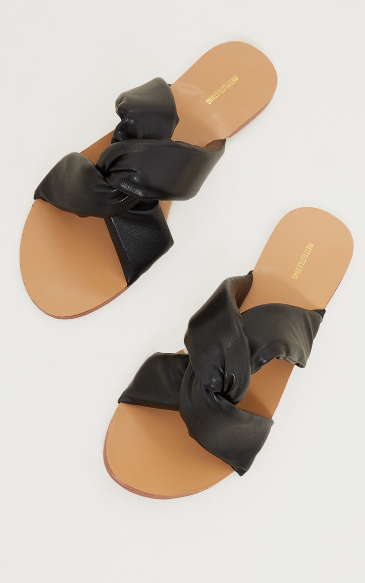 Black Wide Fit Extreme Quilted Knot Detail Mule Sandals 3